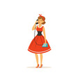 beautiful young woman talking on vintage phone vector image vector image