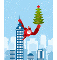 Big Red Gorilla dressed as Santa Claus climbs the vector image