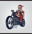 bikers santa claus merry christmas cooper riding vector image