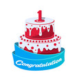 birthday cake icon in cartoon style vector image