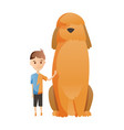 boy with dog isolated on white background holding vector image vector image