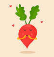 bright poster with cute cartoon radish vector image vector image