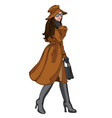 brunette woman in autumn clothes with a smile on vector image vector image