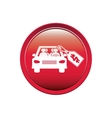 button with car and price tag dollar vector image