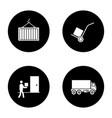 cargo shipping glyph icons set vector image