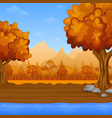 cartoon autumn landscape with river and mountains vector image vector image