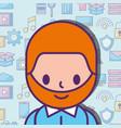 cartoon man character social media network vector image vector image
