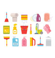 cleaning supplies home clean tools brush bucket vector image