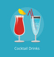 cocktail drinks blue lagoon and vodka juice straw vector image