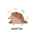 cute hedgehog with fruits on his back harvest vector image vector image
