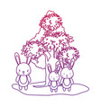 degraded outline adorable rabbits family animal vector image
