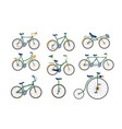 different types bicycles set vector image vector image