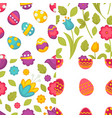 easter seamless patterns eggs and flowers spring vector image