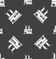 factory icon sign Seamless pattern on a gray vector image