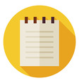 Flat Office Paper Notepad Circle Icon with Long