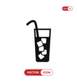 glass with ice icon vector image vector image