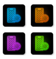 glowing neon mobile apps and gear icon isolated vector image vector image