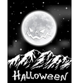 Halloween background with full Moon over mountains