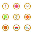 korea symbols icons set cartoon style vector image vector image