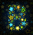 Letter B cartoon star colored vector image