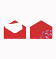 letter in open red envelope blank sheets of paper vector image vector image