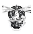 lighghouse in coffee cup with ocean waves black vector image vector image