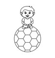 little boy with soccer balloon vector image