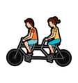 man and woman riding tandem bike icon image vector image vector image