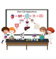 many young scientists explaining stem cell vector image vector image