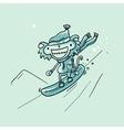 Monkey snowboarder vector image