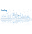 outline bandung indonesia city skyline with blue vector image vector image