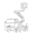 Outline of bucket truck vector image vector image