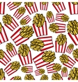 Paper boxes of french fries seamless pattern vector image vector image