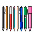 pixel pencils and pens detailed isolated vector image