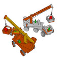 red and white construction vehicles toy on white vector image vector image