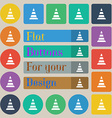 road cone icon Set of twenty colored flat round vector image