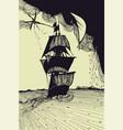 sailing ship at sea hand-drawn graphic with lines vector image vector image
