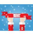 Santa Claus hand holding ribbon Merry Christmas vector image vector image