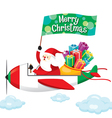 Santa Claus With Gift Boxes Happy on Airplane vector image