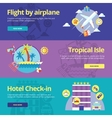 Set of flat design concepts for flight by plane vector image