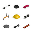 set of sports equipment items vector image