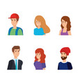 set women and men heads with clothes vector image