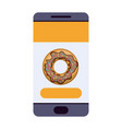 smartphone with food app with donut icon colorful vector image