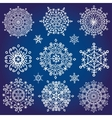 Snowflakes icon collectionWinter crystal round vector image