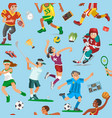 sports seamless pattern with sportsmen vector image