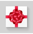 Square Gift Box with Red Scarlet Ribbon Bow vector image vector image