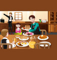 stay at home father eating breakfast with his kids vector image