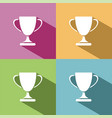 trophy icon with shadow on colored background vector image