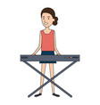 woman playing synthesizer character vector image