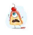 pudding character monster food vector image